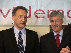 Peter Shumlin and Doug Racine during the 2010 gubernatorial campaign. - FILE PHOTO