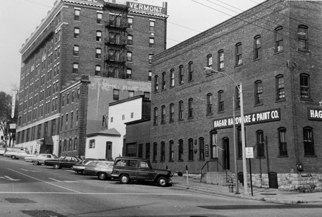 Photo of St. Paul Street, circa 1960s; the white building is 156