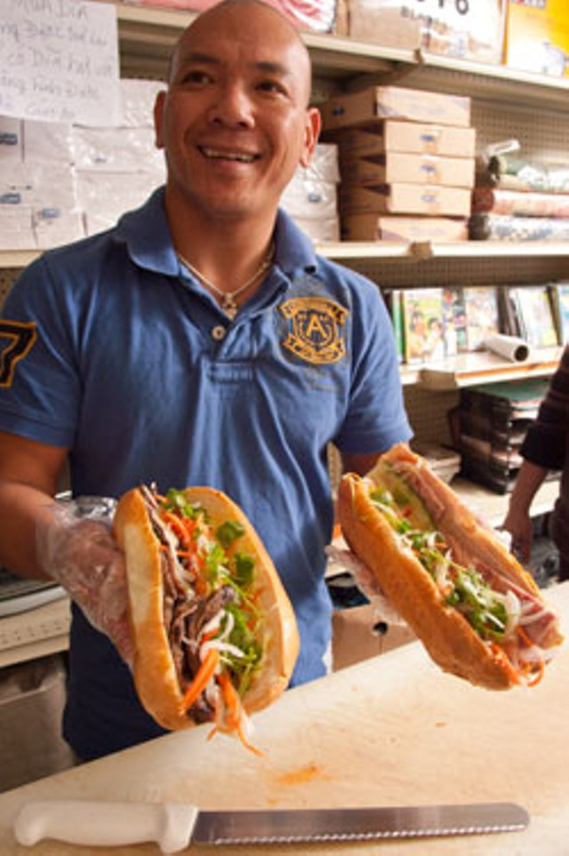 Preparing banh mi at 99 Asian Market Eatery - MATTHEW THORSEN