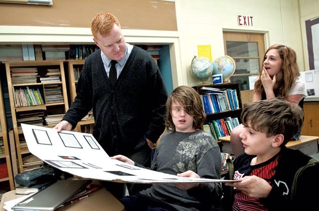Principal Chris Smith checks in  with his son Quinn Smith and Michael Boudreau at Readsboro
