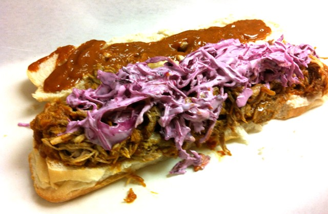 Pulled pork sandwich from Shady's Deli