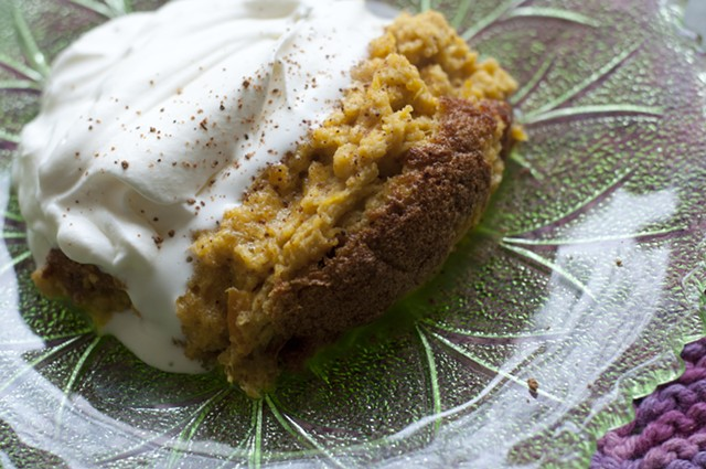 Pumpkin pudding, on a plate with cream! - HANNAH PALMER EGAN