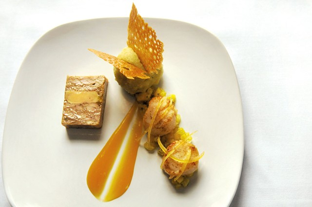Rabbit and foie gras terrine with seared scallops - SARAH PRIESTAP