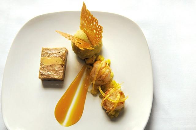 Rabbit and foie gras terrine with seared scallops - SARAH PRIESTAP