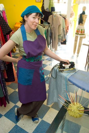MATTHEW THORSEN - Rachel Hooper sporting Suzanne's  custom apron at the Bobbin