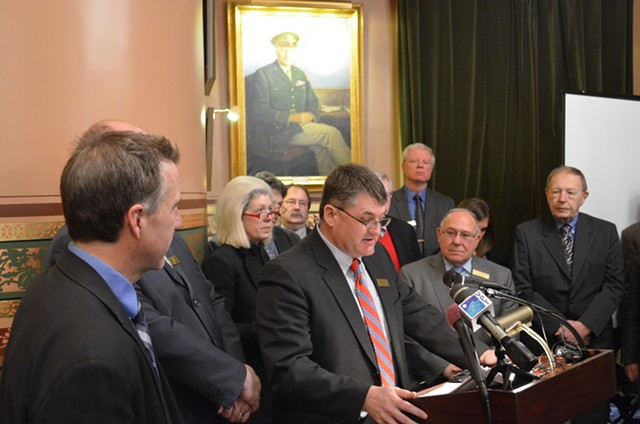 Rep. Don Turner at a Statehouse press conference Wednesday. - PAUL HEINTZ
