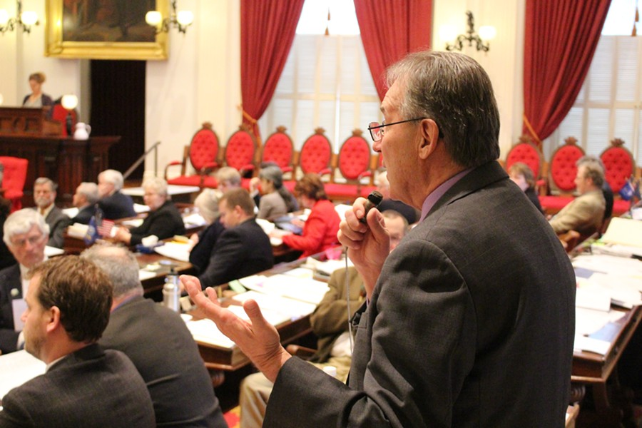 Rep. Paul Poirier (I-Barre) speaks against the tax bill Thursday on the House floor. - PAUL HEINTZ
