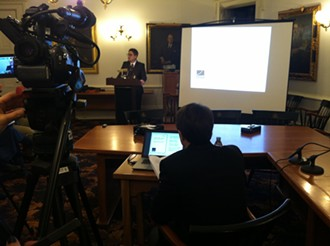 Beau Kilmer, project leader for RAND Corporation, presents a report Friday at the Statehouse on legalizing marijuana in Vermont. - TERRI HALLENBECK