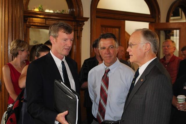 Republican gubernatorial nominee Scott Milne, Lt. Gov. Phil Scott and former governor Jim Douglas at Milne's campaign kickoff last month. - FILE: PAUL HEINTZ