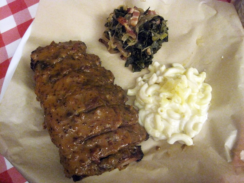 Ribs, collard greens and mac-and-cheese