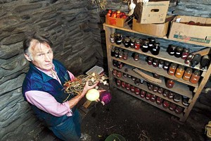 JEB WALLACE-BRODEUR - Richard Czaplinski in the root cellar at his home in East Montpelier