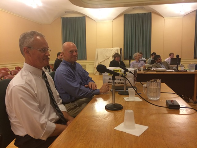 Ron Redmond, executive director of the Church Street Marketplace District Commission, left, and Jeff Nick, the commission's chair, address the city council. - ALICIA FREESE