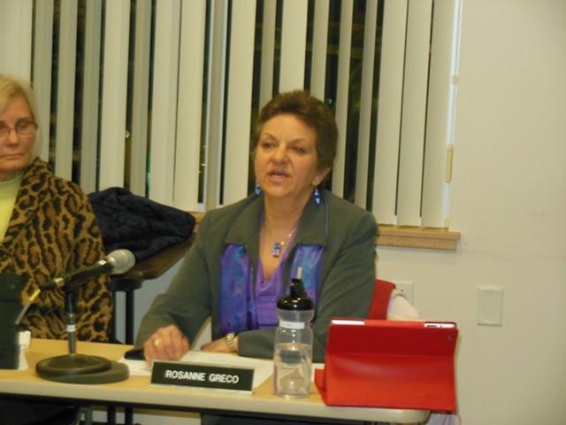 Roseann Greco takes a parting shot at fellow South Burlington city councilors. - KEVIN J. KELLEY