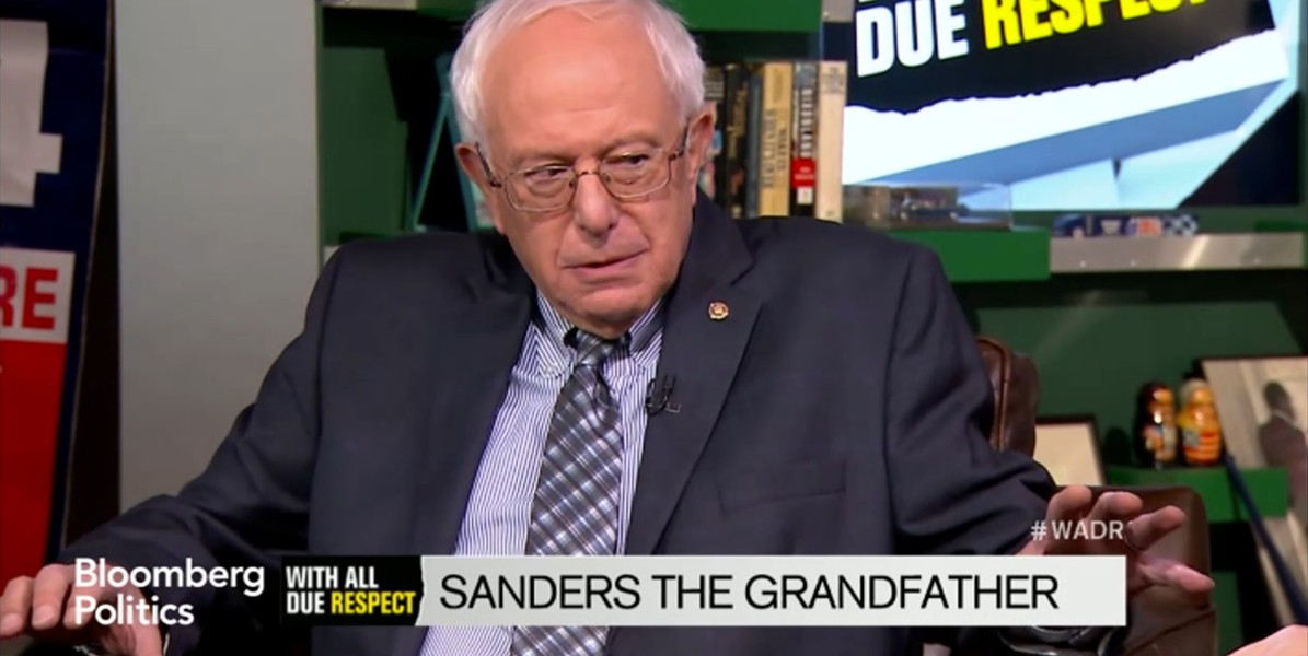 "Sanders appears on Bloomberg TV's ""With All Due Respect."" - SCREENSHOT"