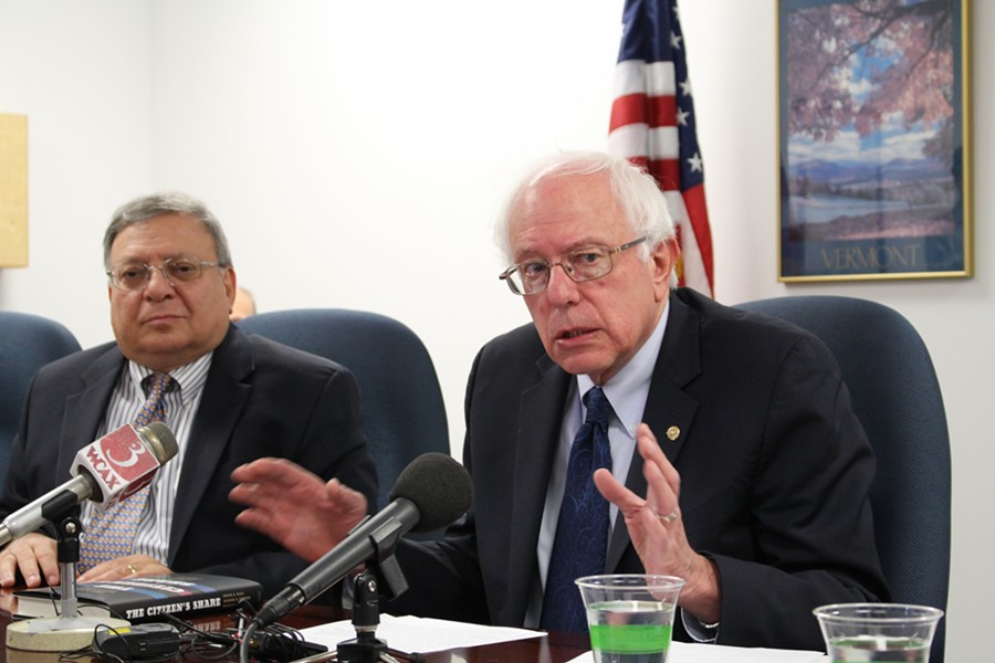 Sanders at a press conference Monday in his Burlington office. - PAUL HEINTZ