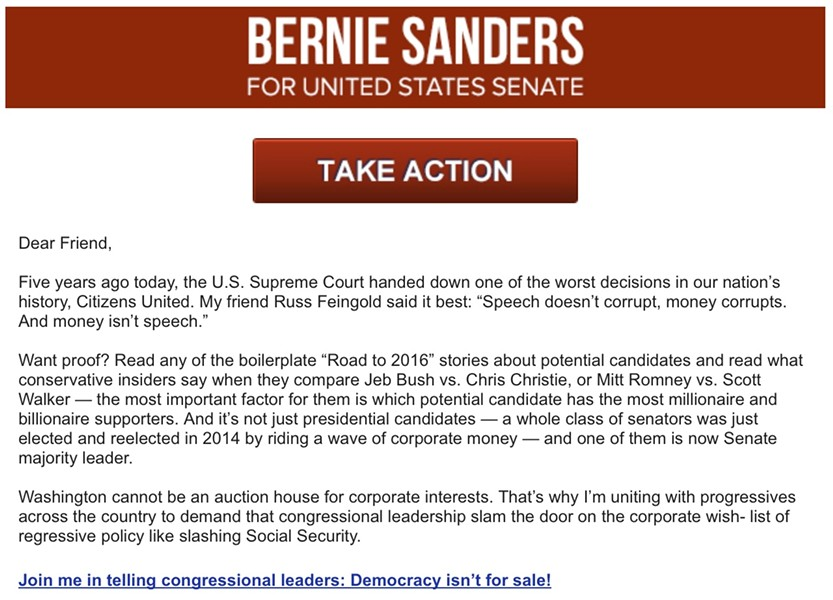 An email Sanders sent supporters Wednesday in collaboration with Progressives United. - SCREENSHOT