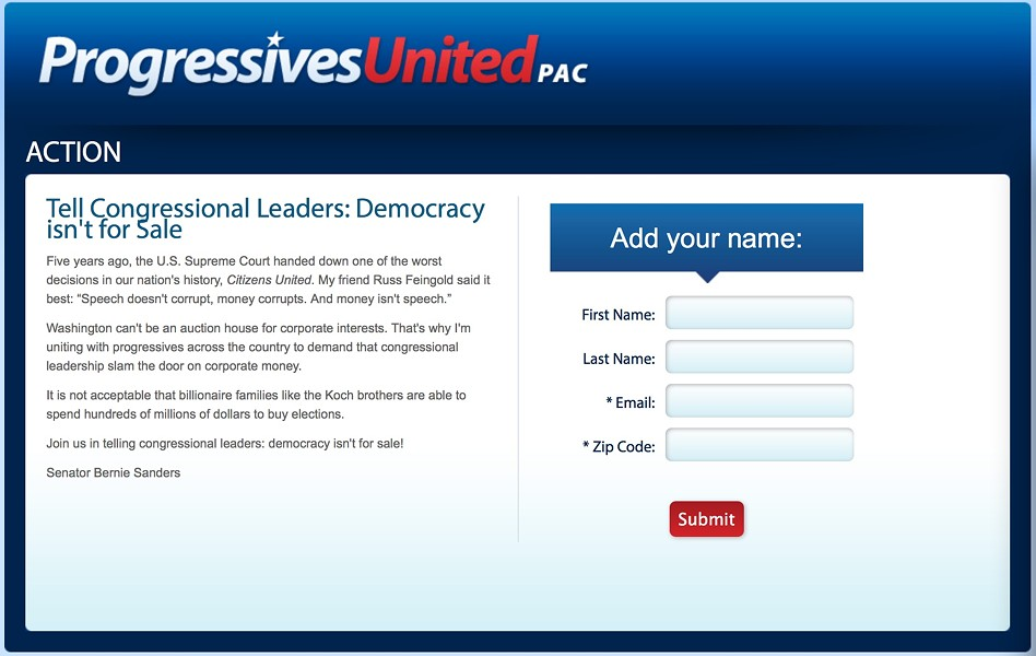 A Progressives United petition used by Sanders to gather email addresses for fundraising purposes. - SCREENSHOT