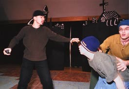 SCENES FROM A LIFE Admir Dobraca (left) urges haste in a rehearsal for Once Upon a Time And Never Again - ANDY DUBACK