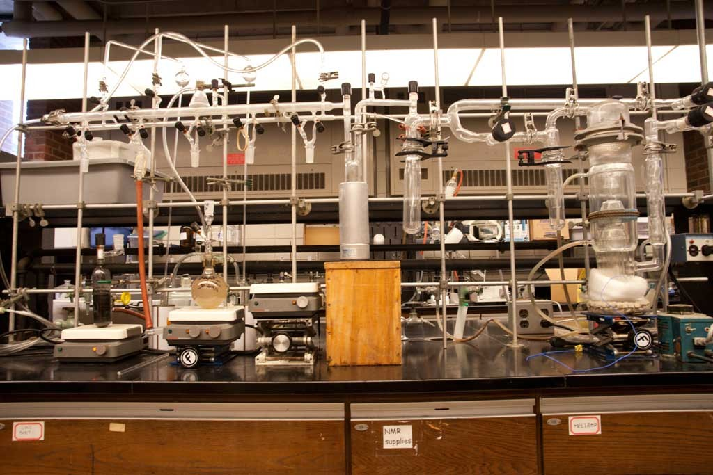 Schlenk vacuum line, left; oil diffusion pump, right - MATTHEW THORSEN