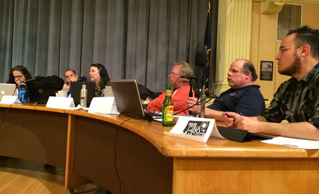 School board members in City Hall on Thursday - ALICIA FREESE