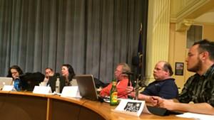 School board members in City Hall on Thursday