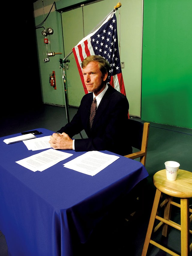 Scott Milne recording a spot for Vermont PBS - MARK DAVIS