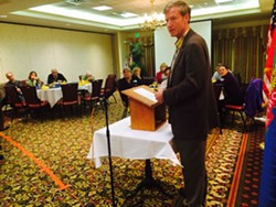 Scott Milne, Republican candidate for governor, speaks to the Colchester-Milton Rotary Club. - MARK DAVIS