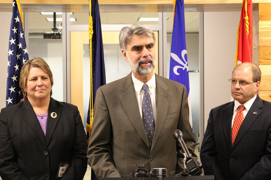 Secretary of Administration Jeb Spaulding announces that Patricia Moulton Powden (left) will take over as secretary of commerce and Lawrence Miller (right) will become chief of health care reform. - PAUL HEINTZ