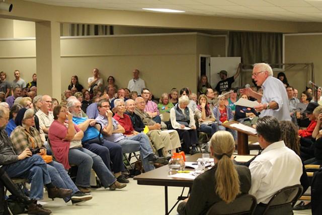 Sen. Bernie Sanders speaks at a town hall meeting in Des Moines, Iowa, on Sunday. - FILE: PAUL HEINTZ