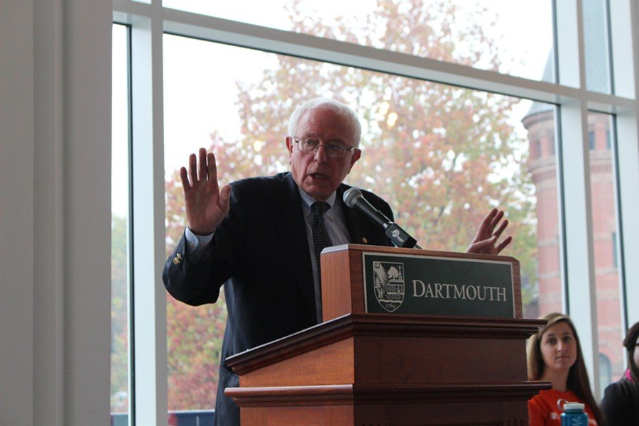 Sen. Bernie Sanders speaks at Dartmouth College Thursday. - PAUL HEINTZ