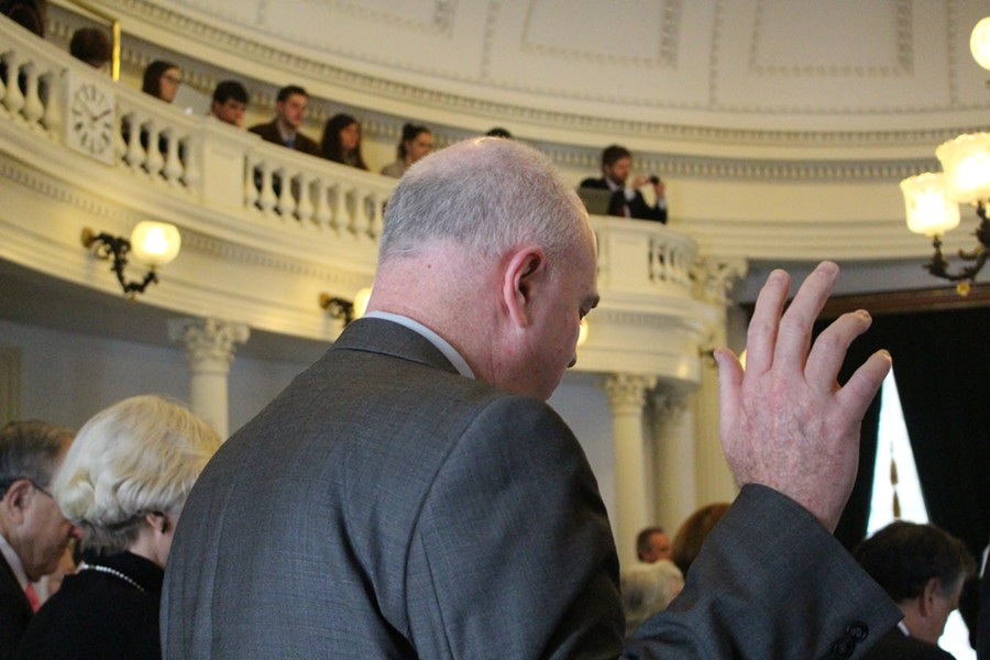 Sen. Joe Benning (R-Caledonia) takes the oath of office Wednesday. - PAUL HEINTZ