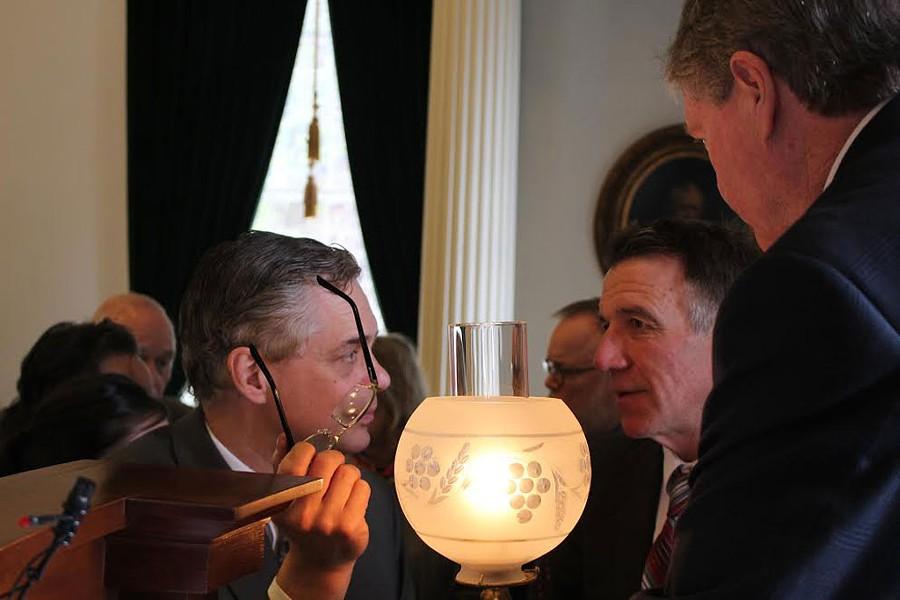 Senate Secretary John Bloomer, Lt. Gov. Phil Scott and Senate President John Campbell in the Senate chamber. - PAUL HEINTZ