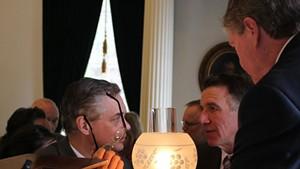 Senate Secretary John Bloomer, Lt. Gov. Phil Scott and Senate President John Campbell in the Senate chamber.