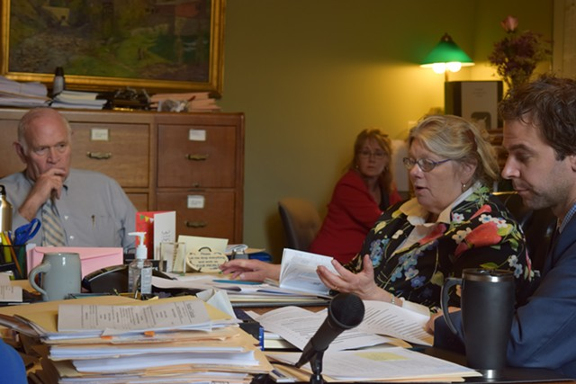 Senate Judiciary Committee chair Dick Sears (D-Bennington) and committee members Jeanette White (D-Windham) and Tim Ashe (D/P-Chittenden) discuss a gun  bill Thursday in committee. - TERRI HALLENBECK