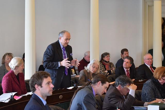 Senate Transportation Committee Chair Dick Mazza (D-Grand Isle) urges senators to clarify the state's cellphone driving ban Wednesday. - TERRI HALLENBECK