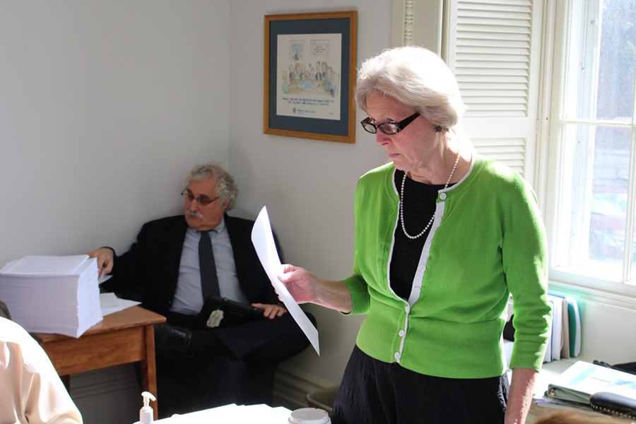 Sen. Jane Kitchel hears from Shumlin administration officials Thursday. - PAUL HEINTZ