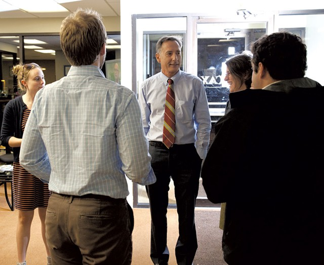 Shumlin chats with campaign staffers at WCAX-TV - MATTHEW THORSEN