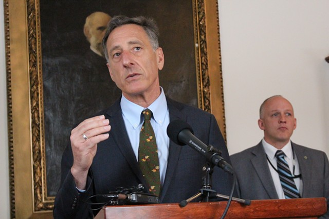 Gov. Peter Shumlin Friday at the Statehouse - PAUL HEINTZ