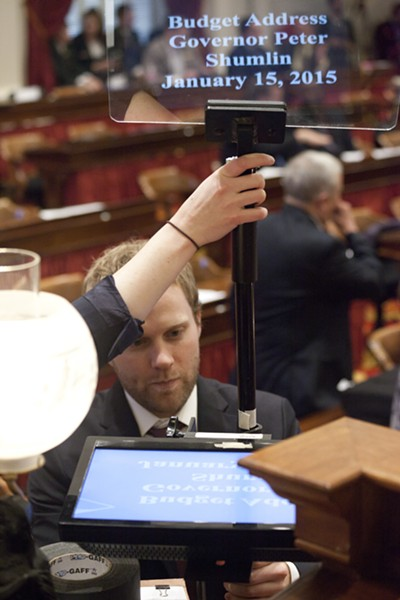 Shumlin spokesman Scott Coriell sets up the governor's teleprompter. - MATTHEW THORSEN