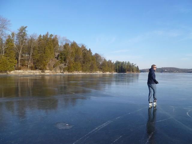 skating on Lake Champlain