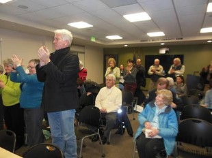 Some residents react with supportive applause, other with silence, as Roseann Greco blasts fellow councilors. - KEVIN J. KELLEY