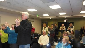 Some residents react with supportive applause, other with silence, as Roseann Greco blasts fellow councilors.