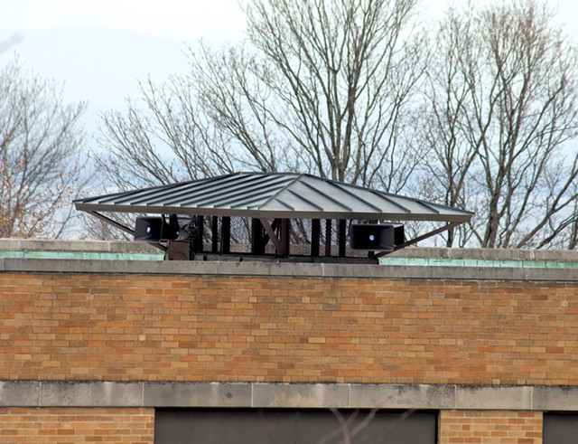 Speaker system on the church roof - MATTHEW THORSEN