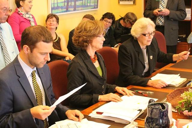 Sen. Tim Ashe, Sen. Claire Ayer and Sen. Jane Kitchel review a health care bill. - PAUL HEINTZ