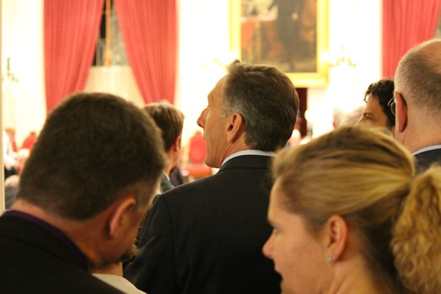 Gov. Peter Shumlin enters the House chamber to deliver closing remarks. - PAUL HEINTZ