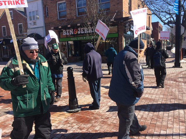 Striking CCTA bus drivers man a picket line on Church Street this afternoon. They say they plan to maintain the protest every day until they agree on a new contract. - MARK DAVIS