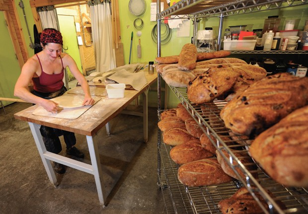 Suzanne Slomin makes pizza dough at Kingsbury Market Garden Bakery in Warren - JEB WALLACE-BRODEUR