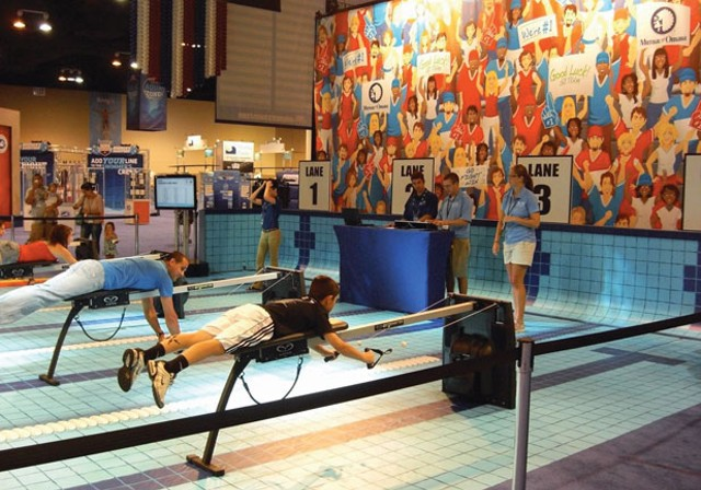 Swim fans try Vasa trainers at the Olympic trials in Omaha