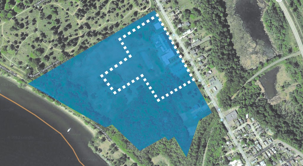 The college would retain the seven acres shown within the dotted line, including a football field-size green space, and the public would continue to have trail access to the lake.