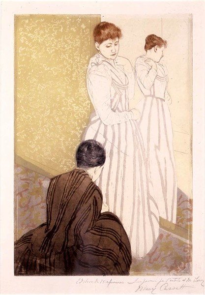 """The Fitting"" by Mary Cassatt"